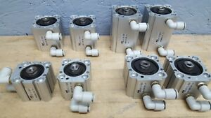 Lot Of 8 Phd Pneumatic Cylinders Crs6u 40x13 40x50 32x13 40x25 W fittings