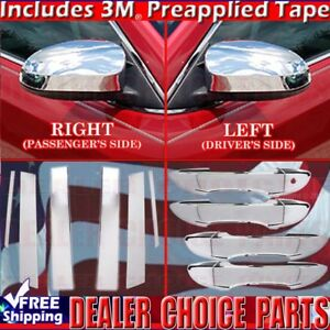 For 2014 2018 Toyota Corolla Chrome Door Handle Covers Nosmtk mirrors pillars