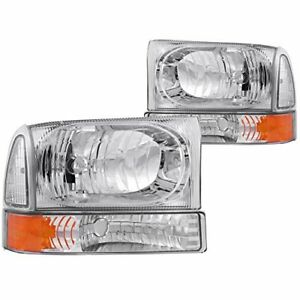 Anzo 111081 2000 2004 Ford Excursion Crystal Headlights Chrome W Led 1pc
