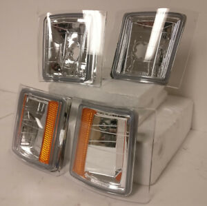 Chrome Housing Clear Lens Amber Reflector Corner Lights For 94 98 Chevy C10 1500