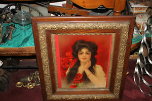 Antique Victorian Print Woman Long Hair Flowers Gilded Gold Scroll Wood Frame