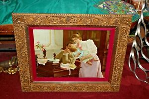 Antique Victorian Print Man Woman Child Gilded Gold Scroll Wood Frame