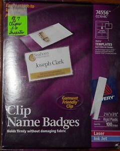 Avery 74556 Clip Name Badges 87 With 56 Inserts 2 1 4 X 3 1 2 Garment F
