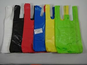 T shirt Bags W Handles 8 X 5 X 16 Variety Of Colors Qty Plastic Retail