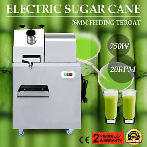 110v Automatic Sugarcane Juicer Sugar Cane Grind Press Machine Stainless Steel