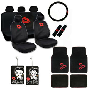 New Love Kiss Red Lips Car Front Back Seat Covers Floor Mats Air Freshener Set
