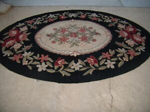 Large Vintage Multi Color Floral Hooked Wool Rug Black Olive Green Cream Rose