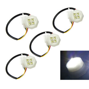 4 White Led Hide Away Strobe Light Headlight Replacement Kit For Truck Car