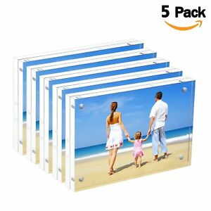 Bulk Acrylic Picture Frames 4x6 Clear Double Sided Block Set Retail Gift Box