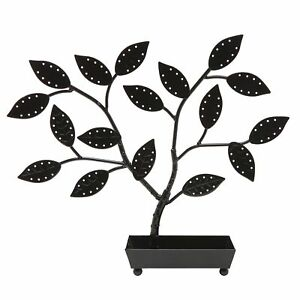 Mygift Jewelry Tree Earring Necklace Hanger Holder With Ring Dish Tray Black