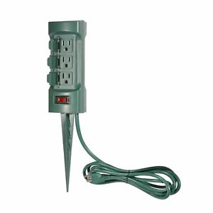 Bestten 6 Outlet Outdoor Power Stake With Cover And On Off Switch 9 Ft