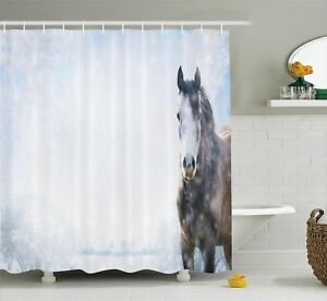 Farm House Decor Shower Curtain Set By Ambesonne Gray Horse On Winter Landscape