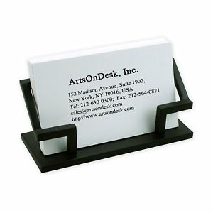 Artsondesk Modern Art Business Card Holder Bk301 Steel Black Patented Desk