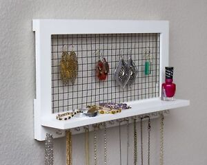 White Wooden Wall Mount Jewelry Organizer For Earrings Necklaces Bracelets