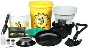 Gold Rush Nugget Bucket Deluxe Gold Panning Kit With Folding Shovel yellow