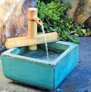 Bamboo Accents Water Fountain Spout Complete Kit Includes Submersible Pump For