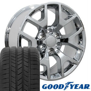 20 Rims Tires Fit Gm Chevy Sierra Silverado Chrome Wheels Gy Tires 5656