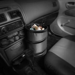 Auto Car Trash Can Portable Collapsible Waterproof Small Gray