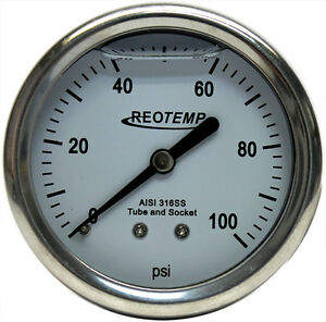Reotemp 0 100 Psi All stainless Steel Panel Mount Pressure Gauge