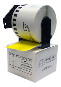 6 Dk 2205 Yellow Replacement Rolls Compatible W Brother 2 Reusable Frames