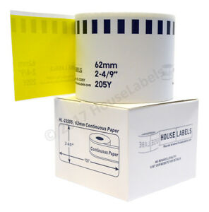 Brother Dk 2205 Yellow Direct Thermal Continuous Labels 6 Rolls Of 100