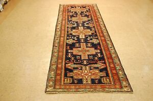 Circa 1930s Antique Cross Star Kazakshirvan Design Caucasian Rug 3x10
