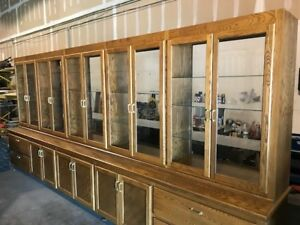 Large Custom Built Oak Display Cabinet