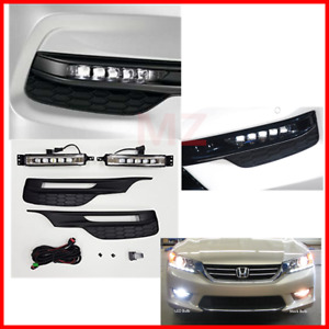 For 16 17 Honda Accord Bumper Led Fog Lights Driving Lamps Set Pair Assembly