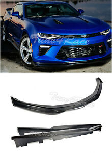 For 16 Up Camaro Ss Front Lip Side Skirt Carbon Fiber V8 T6 Style W Side Pieces