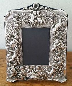 Vtg Large Sterling Silver Ornate Angel Putti Repousse 3d Picture Photo Frame