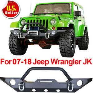 Front Bumper Rock Crawler Fog Light Hole Black For 07 17 Jeep Wrangler Jk F
