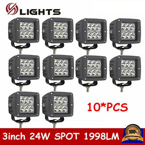 10x 3inch 24w Cree Led Work Light Square Cube Pods Spot Offroad Fog 4wd Ute Jeep