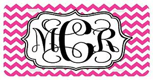 Personalized Monogrammed License Plate Auto Car Tag Chevron Pink Black Vine