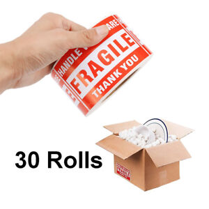 30 Rolls 500 roll 2x3 Fragile Stickers Handle With Care Thank You Mailing Labels