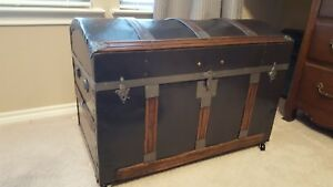 Antique Steamer Trunk Restored Dome Top Refurbished With Wheels