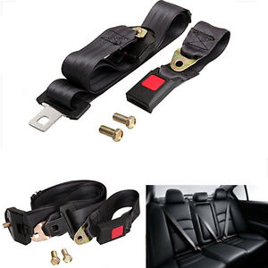 Universal 3 Point Auto Vehicle Car Seat Belt Lap Adjustable Safety Belts Black