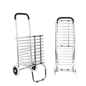 Metal Folding Collapsible Grocery Basket Shopping Cart Trolley Wheel Rolling New