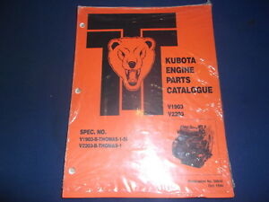 Thomas Skid Steer Kubota V1903 V2203 Engine Parts Manual Book
