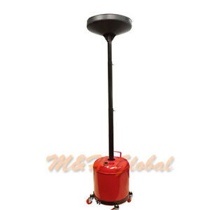 Portable 5 Gallon Waste Oil Drain Drum Pan Lift Funnel Dolly
