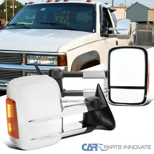 For 88 98 Chevy Gmc C10 C K Tahoe Suburban Chrome Tow Mirrors Manual Led Signal