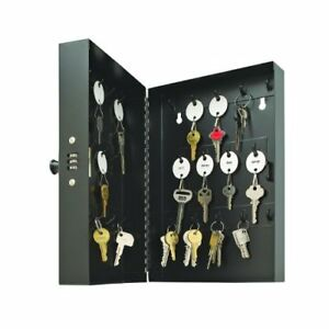 Wall Mounted Metal Key Storage Lock Box Cabinet Safe Organizer W 28 Hooks Black