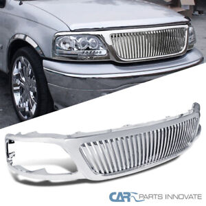 99 03 F150 99 02 Expedition 1pc Abs Vertical Chrome Front Bumper Hood Grille