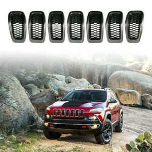 Front Gary black Grille Inserts Mesh Frame Accessories For Jeep Cherokee 2014 18
