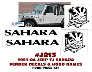Qj j213 Jeep Sahara Hood Name And Fender Decal Set 4 Pieces Licensed