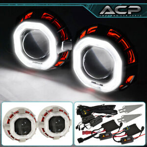 For Toyota Retrofit Hid Bi Xenon Projector Set Pair Headlight Halo Angel Eye Red
