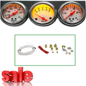 Universal Chrome Oil Pressure Water Volt Triple 3gauge 50mm Car Gauges Panel Kit