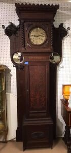 Magnificent Oak Grandfather Clock Hall Tree