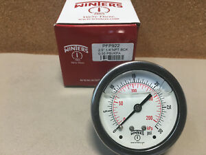 Winters Pressure Gauge Ss Liquid Filled Pfp922 2 5 1 4 Npt Back 0 30 Psi kpa