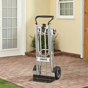Cosco 3 in 1 Hand Truck assisted Hand Truck cart With Flat free Wheels No Tax