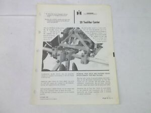 International Harvester 20 Tool Bar Carrier Tractor With 3 Point Hitch Brochure